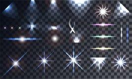 Δημιουργικό διανυσματικό σύνολο έννοιας αστεριών ελαφριάς επίδρασης πυράκτωσης Στοκ Εικόνες