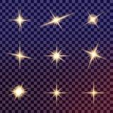 Δημιουργικό διανυσματικό σύνολο έννοιας εκρήξεων αστεριών ελαφριάς επίδρασης πυράκτωσης με τα σπινθηρίσματα Στοκ Εικόνες