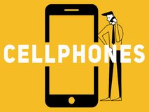 Δημιουργικό κινητό τηλέφωνο έννοιας του Word και κλήση ανθρώπων απεικόνιση αποθεμάτων