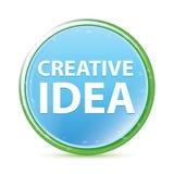 Δημιουργικό κυανό μπλε στρογγυλό κουμπί aqua ιδέας φυσικό διανυσματική απεικόνιση