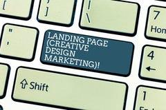 Δημιουργικό μάρκετινγκ σχεδίου σελίδων προσγείωσης κειμένων γραφής Έννοια που σημαίνει την αρχική σελίδα που διαφημίζει το κοινων στοκ εικόνες με δικαίωμα ελεύθερης χρήσης