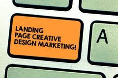 Δημιουργικό μάρκετινγκ σχεδίου σελίδων προσγείωσης κειμένων γραφής Έννοια που σημαίνει την αρχική σελίδα που διαφημίζει το κοινων στοκ φωτογραφία με δικαίωμα ελεύθερης χρήσης