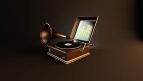 Δημιουργικό μουσικό gramophone διανυσματική απεικόνιση