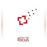Δημιουργικό λογότυπο εστίασης, λογότυπο φωτογράφων, διανυσματική απεικόνιση Στοκ Εικόνες