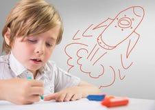 Δημιουργικό παιδί με το hand-drawn πύραυλο Στοκ Εικόνες