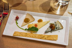 Δημιουργικό πιάτο των ισπανικών τυριών Στοκ Εικόνες