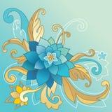 Δημιουργικό πρότυπο με το λουλούδι και τα φύλλα Στοκ εικόνα με δικαίωμα ελεύθερης χρήσης