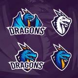 Δημιουργικό πρότυπο λογότυπων δράκων Σχέδιο αθλητικών μασκότ Διακριτικά ένωσης κολλεγίου, ασιατικό σημάδι κτηνών, διάνυσμα σχολικ Στοκ Εικόνες