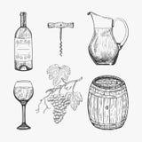 Δημιουργικό σκίτσο των στοιχείων κρασιού επίσης corel σύρετε το διάνυσμα απεικόνισης Στοκ εικόνα με δικαίωμα ελεύθερης χρήσης