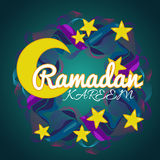 Δημιουργικό στεφάνι με τα αστέρια και φεγγάρι για το ισλαμικό φεστιβάλ Ramadan Kareem Απεικόνιση αποθεμάτων