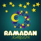 Δημιουργικό στεφάνι με τα αστέρια και φεγγάρι για το ισλαμικό φεστιβάλ Ramadan Kareem Στοκ Φωτογραφίες