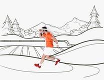 δημιουργικό συρμένο χέρι κολάζ με με το άτομο που τρέχει από το τοπίο βουνών στοκ φωτογραφίες