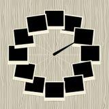 Δημιουργικό σχέδιο ρολογιών με τα πλαίσια φωτογραφιών διανυσματική απεικόνιση