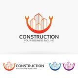 Δημιουργικό σχέδιο λογότυπων κατασκευής διανυσματικό Στοκ Φωτογραφία