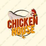 Δημιουργικό σχέδιο λογότυπων με το ρεαλιστικό κοτόπουλο επίσης corel σύρετε το διάνυσμα απεικόνισης Στοκ Εικόνες