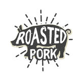 Δημιουργικό σχέδιο λογότυπων με το χοιρινό κρέας επίσης corel σύρετε το διάνυσμα απεικόνισης Στοκ Εικόνα