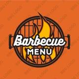 Δημιουργικό σχέδιο λογότυπων με bbq τη σχάρα και τη φλόγα επίσης corel σύρετε το διάνυσμα απεικόνισης Στοκ Εικόνα
