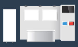 Δημιουργικό σχέδιο στάσεων έκθεσης Πρότυπο θαλάμων Εταιρικό διάνυσμα ταυτότητας Στοκ εικόνα με δικαίωμα ελεύθερης χρήσης