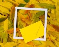 Δημιουργικό σχεδιάγραμμα φιαγμένο από ζωηρόχρωμα φύλλα πτώσης φθινοπώρου με το άσπρο κενό πλαίσιο και τον κίτρινο φάκελο Στοκ Εικόνες