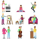 Δημιουργικό σύνολο ενήλικων ανθρώπων και χόμπι τους Μαγείρεμα, ζωγραφική, κιθάρα παιχνιδιού και πέρκες, κεντητική, πλέξιμο, ράψιμ Στοκ Φωτογραφίες