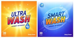 Δημιουργικό σύνολο προτύπων σχεδίου συσκευασίας έννοιας πλυντηρίων καθαριστικό Στοκ Φωτογραφίες