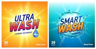 Δημιουργικό σύνολο προτύπων σχεδίου συσκευασίας έννοιας πλυντηρίων καθαριστικό Στοκ Εικόνα
