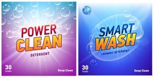 Δημιουργικό σύνολο προτύπων σχεδίου συσκευασίας έννοιας πλυντηρίων καθαριστικό Στοκ φωτογραφία με δικαίωμα ελεύθερης χρήσης