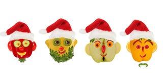 Δημιουργικό σύνολο έννοιας τροφίμων Λίγα αστεία πορτρέτα ενός CL Santa Στοκ Εικόνες