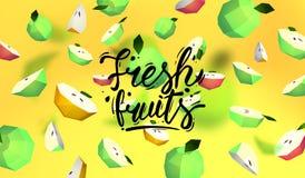 Δημιουργικό υπόβαθρο με τα χαμηλά πολυ φρούτα Απεικόνιση με το polygonal μήλο Απεικόνιση αποθεμάτων