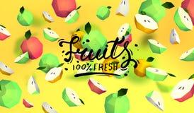 Δημιουργικό υπόβαθρο με τα χαμηλά πολυ φρούτα Απεικόνιση με το polygonal μήλο Διανυσματική απεικόνιση
