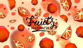 Δημιουργικό υπόβαθρο με τα χαμηλά πολυ φρούτα Απεικόνιση με το polygonal γκρέιπφρουτ Απεικόνιση αποθεμάτων