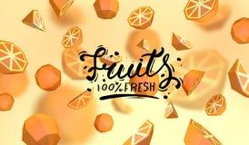 Δημιουργικό υπόβαθρο με τα χαμηλά πολυ φρούτα Απεικόνιση με το polygonal πορτοκάλι Διανυσματική απεικόνιση