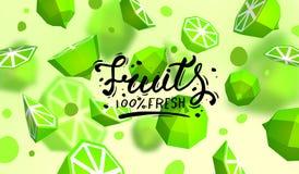 Δημιουργικό υπόβαθρο με τα χαμηλά πολυ φρούτα Απεικόνιση με το polygonal ασβέστη Απεικόνιση αποθεμάτων