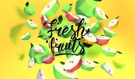 Δημιουργικό υπόβαθρο με τα χαμηλά πολυ φρούτα Απεικόνιση με το polygonal μήλο Ελεύθερη απεικόνιση δικαιώματος
