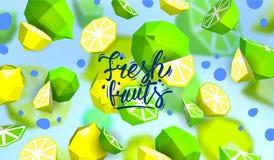 Δημιουργικό υπόβαθρο με τα χαμηλά πολυ φρούτα Απεικόνιση με το polygonal ασβέστη και το λεμόνι Απεικόνιση αποθεμάτων