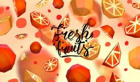 Δημιουργικό υπόβαθρο με τα χαμηλά πολυ φρούτα Απεικόνιση με το polygonal γκρέιπφρουτ και το πορτοκάλι Απεικόνιση αποθεμάτων