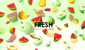 Δημιουργικό υπόβαθρο με τα χαμηλά πολυ φρούτα Απεικόνιση με το polygonal αχλάδι και το καρπούζι Στοκ Φωτογραφία