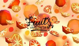 Δημιουργικό υπόβαθρο με τα χαμηλά πολυ φρούτα Απεικόνιση με το polygonal γκρέιπφρουτ και το πορτοκάλι Διανυσματική απεικόνιση