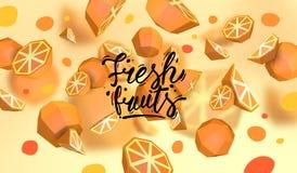 Δημιουργικό υπόβαθρο με τα χαμηλά πολυ φρούτα Απεικόνιση με το polygonal πορτοκάλι Απεικόνιση αποθεμάτων