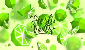 Δημιουργικό υπόβαθρο με τα χαμηλά πολυ φρούτα Απεικόνιση με το polygonal ασβέστη Ελεύθερη απεικόνιση δικαιώματος