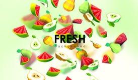 Δημιουργικό υπόβαθρο με τα χαμηλά πολυ φρούτα Απεικόνιση με το polygonal αχλάδι και το καρπούζι Απεικόνιση αποθεμάτων
