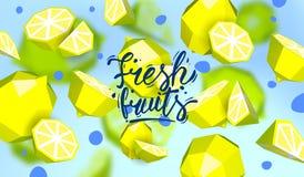 Δημιουργικό υπόβαθρο με τα χαμηλά πολυ φρούτα Απεικόνιση με το polygonal ασβέστη και το λεμόνι Διανυσματική απεικόνιση