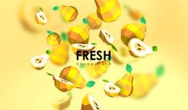 Δημιουργικό υπόβαθρο με τα χαμηλά πολυ φρούτα Απεικόνιση με το polygonal αχλάδι Απεικόνιση αποθεμάτων