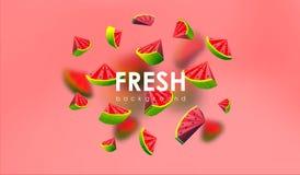 Δημιουργικό υπόβαθρο με τα χαμηλά πολυ φρούτα Απεικόνιση με το polygonal καρπούζι Απεικόνιση αποθεμάτων