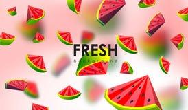 Δημιουργικό υπόβαθρο με τα χαμηλά πολυ φρούτα Απεικόνιση με το polygonal καρπούζι Διανυσματική απεικόνιση