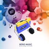 Δημιουργικό υπόβαθρο με τον αναδρομικό φορέα κασετών Πρότυπο με τη συσκευή μουσικής και τα χαμηλά πολυ στοιχεία Διανυσματική απεικόνιση
