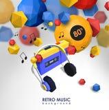 Δημιουργικό υπόβαθρο με τον αναδρομικό φορέα κασετών Πρότυπο με τη συσκευή μουσικής και τα χαμηλά πολυ στοιχεία Ελεύθερη απεικόνιση δικαιώματος