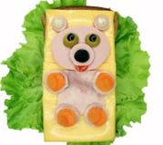 Δημιουργικό φυτικό σάντουιτς με το λουκάνικο τυριών ANS Στοκ Εικόνες