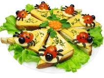 Δημιουργικό φυτικό σάντουιτς με το τυρί Στοκ Εικόνα