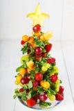 Δημιουργικό χριστουγεννιάτικο δέντρο φρούτων με τα διαφορετικά μούρα, φρούτα και Στοκ Φωτογραφίες